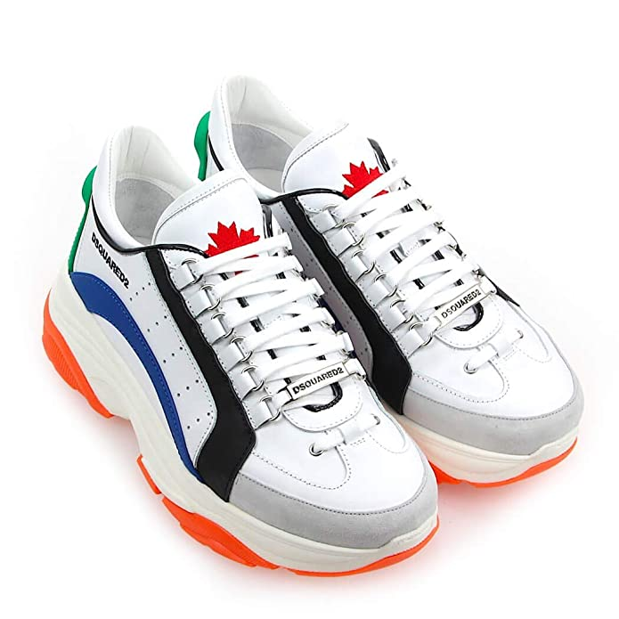 8170e49d99b Men's Shoes Dsquared2 Bumpy 551 White Blue Orange Sneaker SS 2019:  Amazon.co.uk: Shoes & Bags
