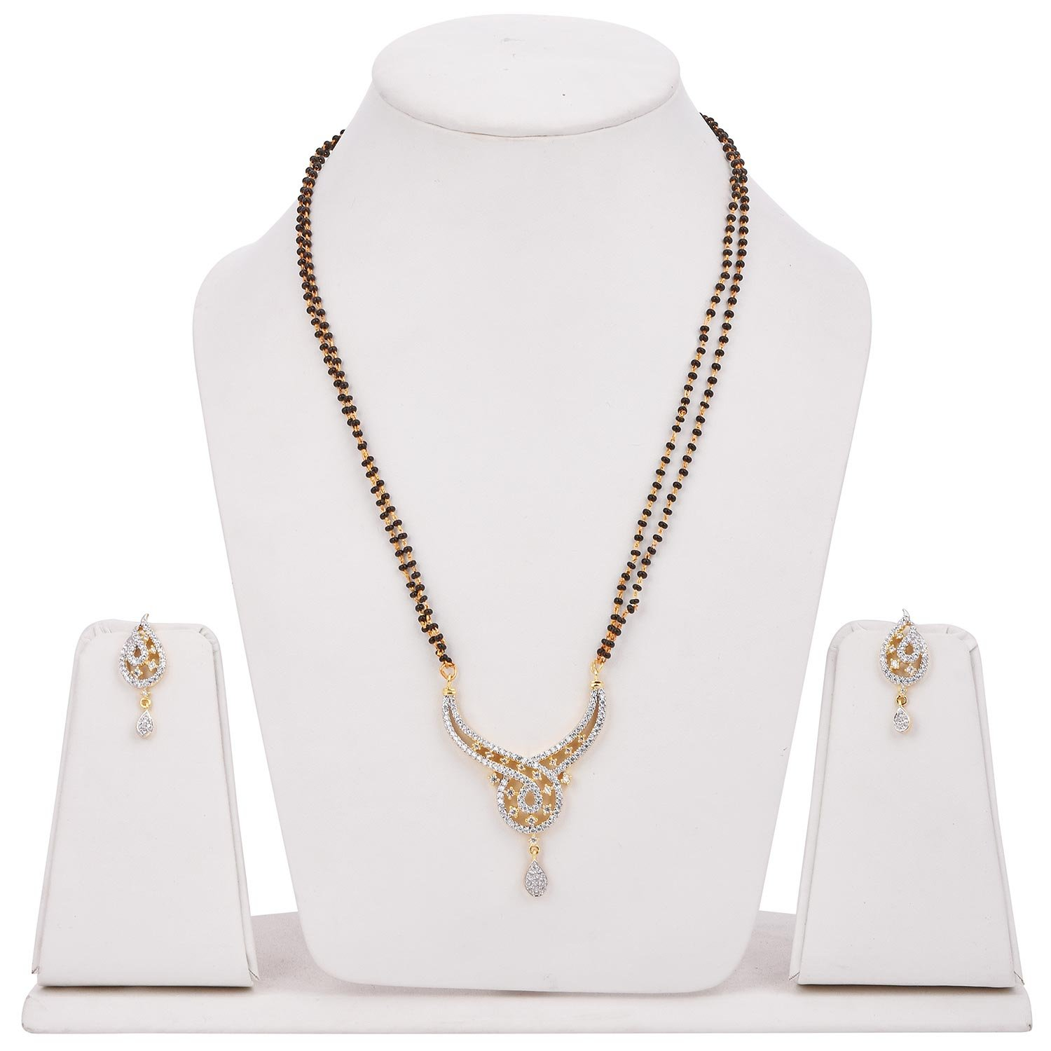 Buy Tistabene Retails Contemporary Designer Modern Designer American Diamond Gold Plated Mangalsutra Set For Women Ms 0056 At Amazon In