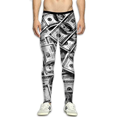 Olivefox Fit Clothes UV for Men Compression Sports and Fitness Tights Workout Pants Breathable Banknotes Cool Dry Baselayer Running Leggings Yoga 3D Apparel Print Pant