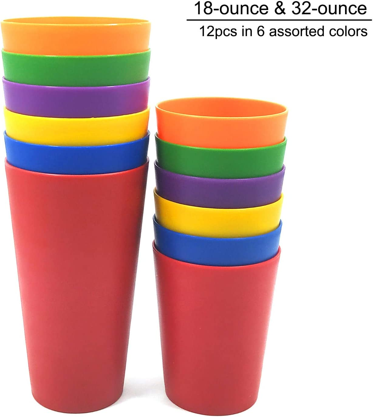 32-ounce and 18-ounce Plastic Tumblers Drinking Glasses, Set of 12 Multicolor - Unbreakable, Dishwasher Safe, BPA Free