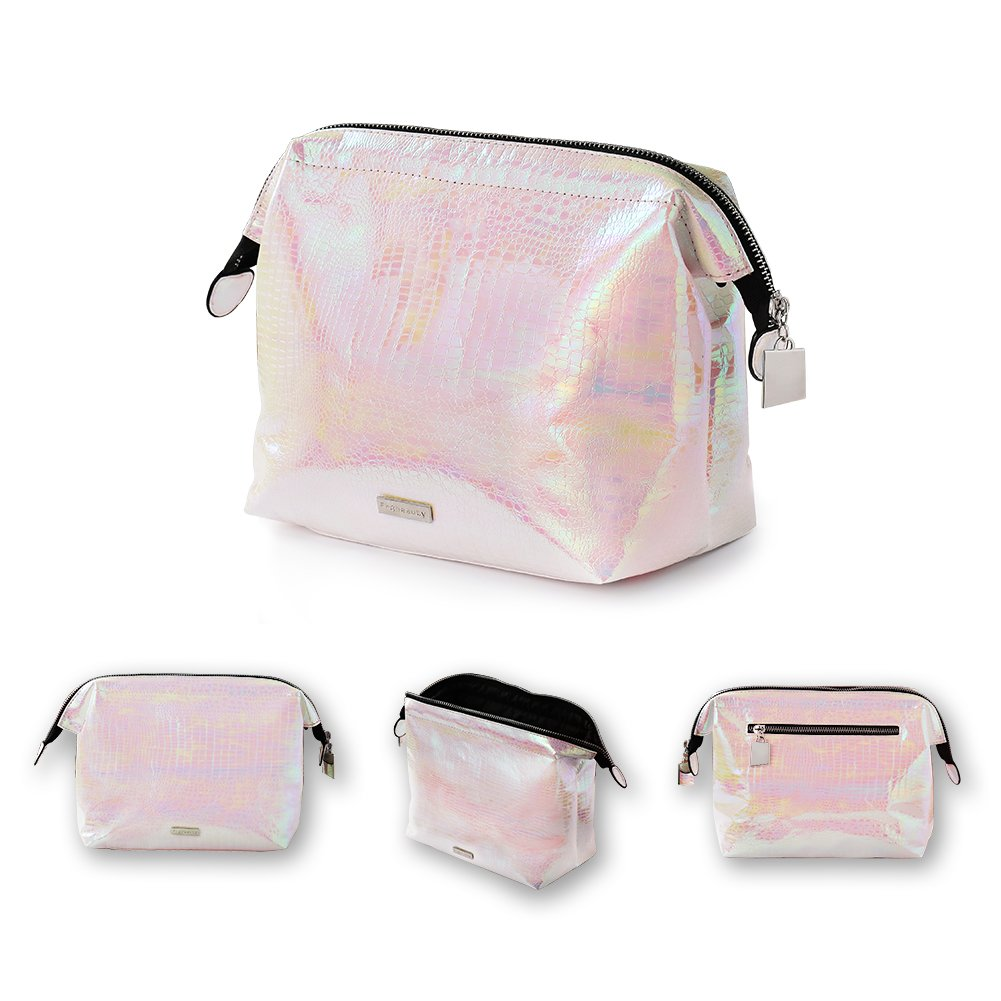 Holographic makeup bag Cosmetic Shiny Rainbow pouch Portable Handle bag Colorful Laser Iridescent pouch Waterproof Cosmetic large Makeup Case Toiletry Beach Wash Bag (holographic milk-pink)