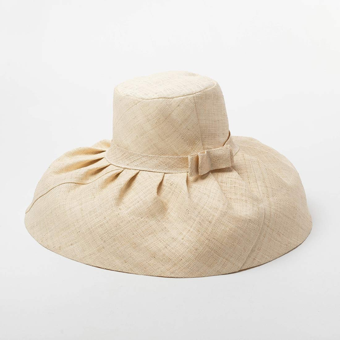 Retro Raffia Straw Sunhat for Women Wide Brim Cap Travel Blocking Sun Hat Pleated Bow hat Weaving Beach Straw Hat Summer