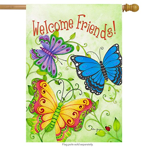 Briarwood Lane Butterfly Welcome Spring House Flag Welcome Friends Butterflies 28
