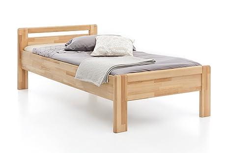 0db8f78ae1 Woodlive Massivholz-Bett aus Kernbuche, als Seniorenbett geeignet, in  Komforthöhe, geöltes Einzel
