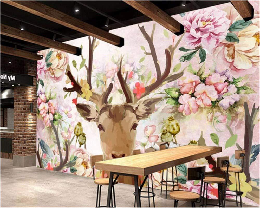 Weaeo カスタム壁紙の鹿の頭ピンクの鹿の頭の白い牡丹、3D写真の壁紙壁画の寝室のリビングルームの3D壁紙-450X300Cm B07HDB9RVM 450X300CM 450X300CM
