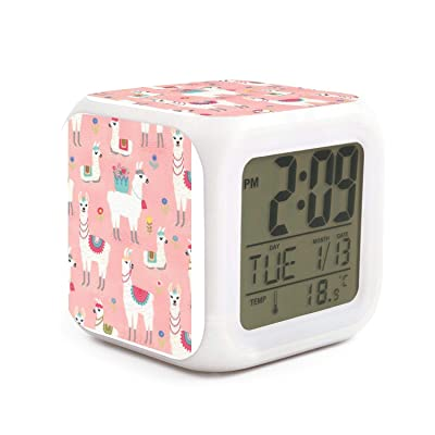 Hotqq Cute Llama and Flowers Cute 7 LED Color Change Digital Thermometer Alarm Clock with LCD Display Cube Night Light for Kids: Home & Kitchen