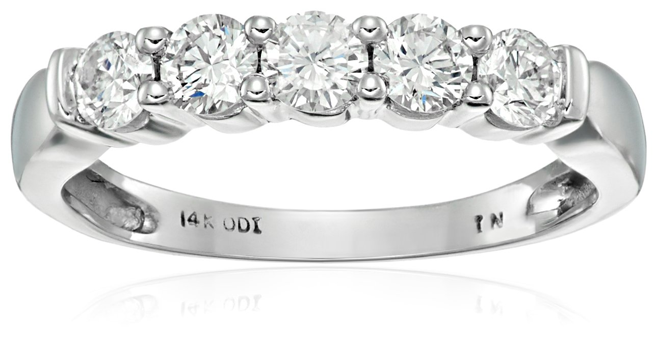 14k White Gold 5-Stone Diamond Anniversary Band (1/2 cttw, H-I Color, I2-I3 Clarity), Size 8 by Amazon Collection