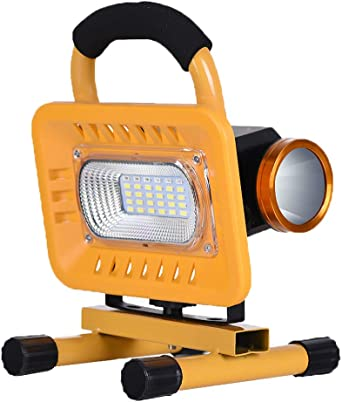 Proyector trabajo LED 6000 mAh, 20W /50W Foco de Obra Recargable ...