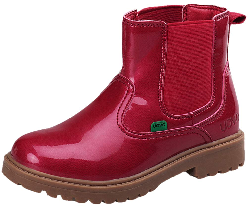 VECJUNIA Girl's Faux Patent Pull On Ankle High Martin Boots (Red, 2 M US Little Kid)