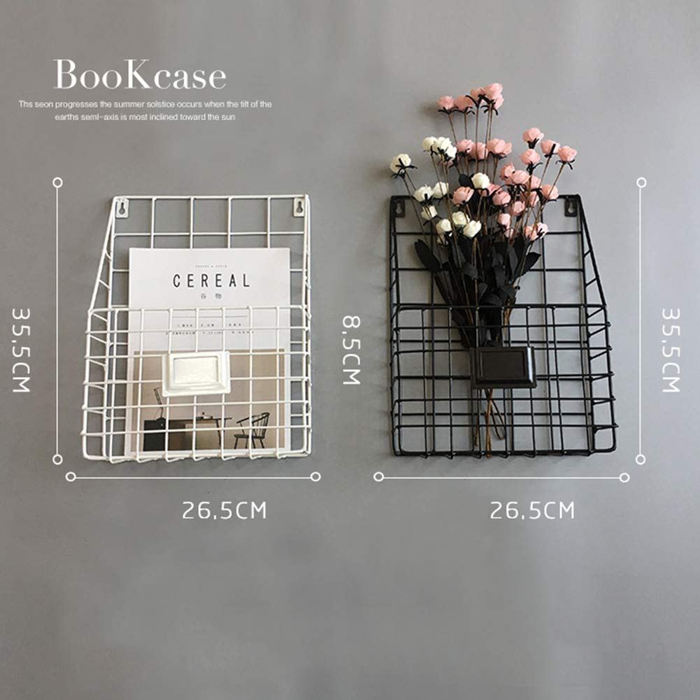 Lovt Wall Mounted Rustic Metal Wire Magazine Storage/Organizer Basket Rack,Wrought Iron Bookshelf Magazine Rack Storage Basket Hanging Shelf (Black) by Lovt (Image #4)