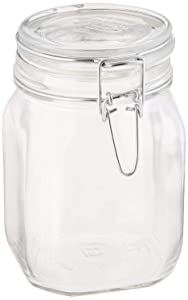 Bormioli Rocco B071RRRZNY Fido Clear Glass Jar with 85 mm Gasket, 1 Liter (Pack of 2)