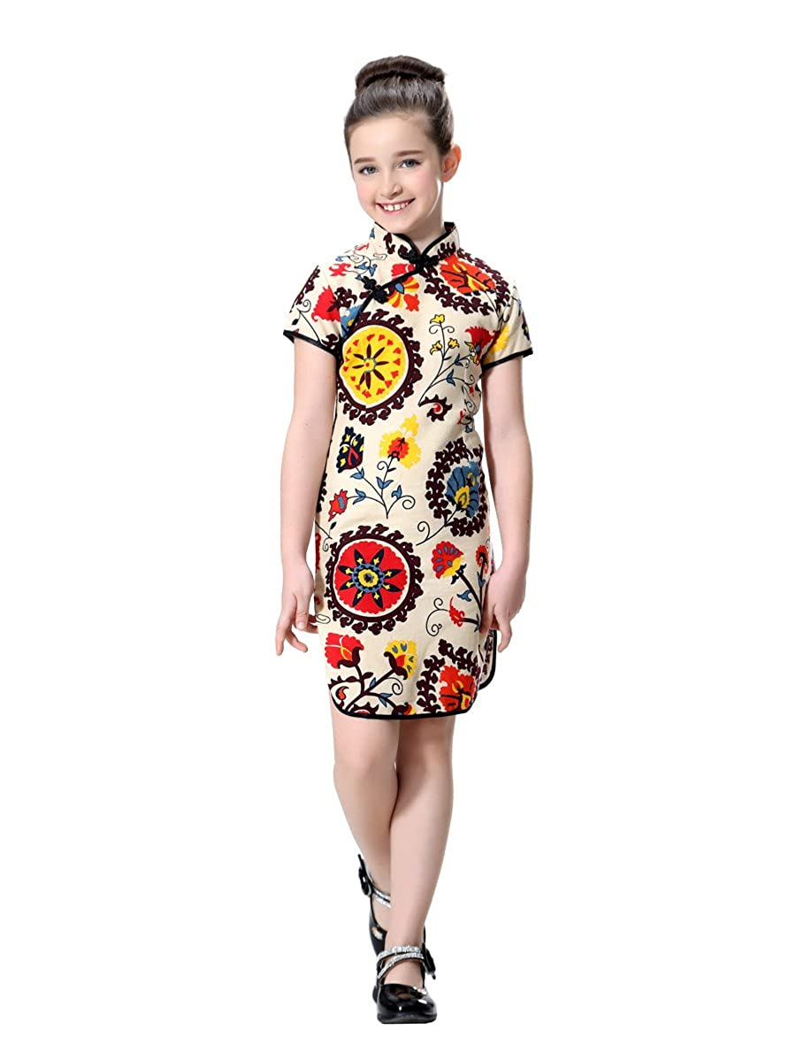 4d284e7bc Amazon.com: Bitablue Girls Floral Accent Cotton/Linen Chinese Qipao:  Clothing