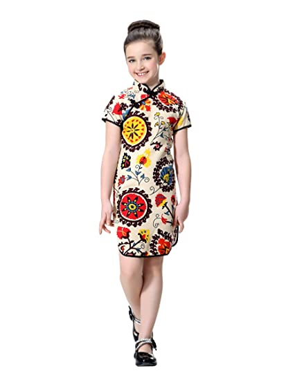 7fe313ab4 Amazon.com: Bitablue Girls Floral Accent Cotton/Linen Chinese Qipao ...