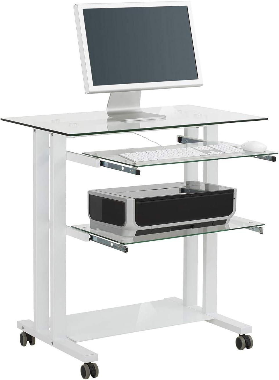 Mesa para Ordenador con Marco de Color Blanco, vidrio: Amazon.es ...