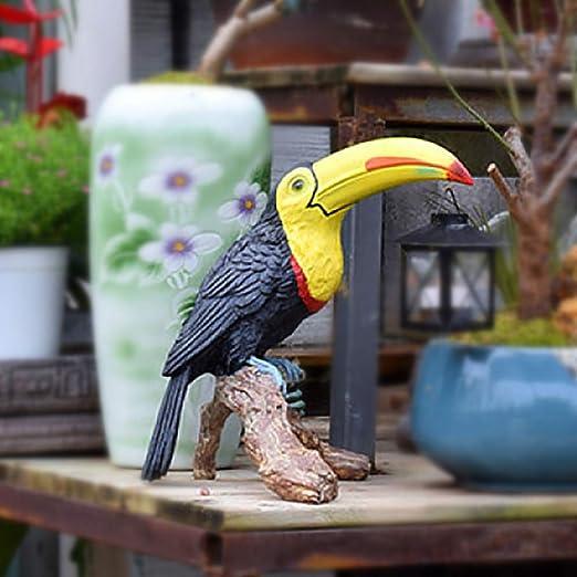 zenggp Luces Vintage Resina Tucán Loro Estatuilla Jardín Decoración Animales Exterior Césped Escultura Ornamento,Black: Amazon.es: Hogar