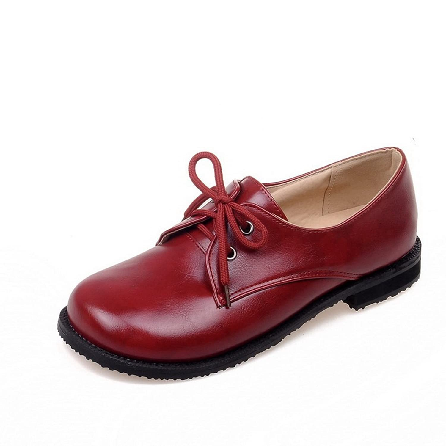 A&N Womens Square Heels Bandage Round-Toe Red Urethane Oxfords-Shoes - 7 B(M) US