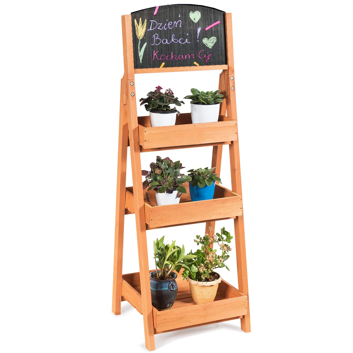 Giantex 3-Tier Plant Stand with Chalkboard Flower Rack with 3 Removable Tray Wood Multipurpose Freestanding Display Shelves by Giantex