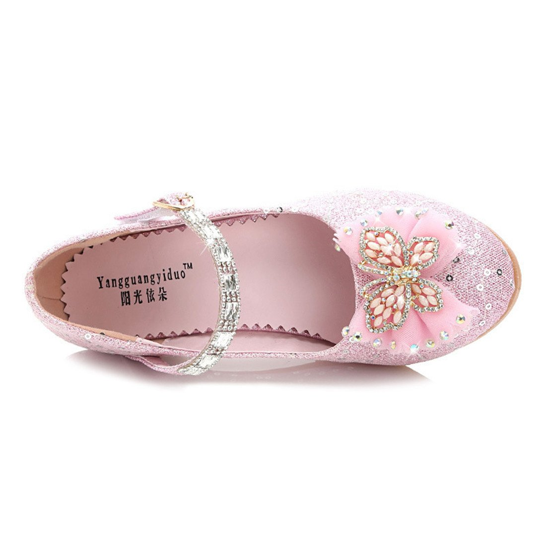 Toddler Littlle Big Kids Girls Glitter Wedding Shoes Dancing Party Mary Jane Flat Shoes Pink Size 2 by YANGXING (Image #2)