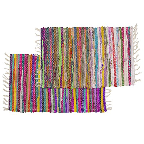 2-Chindi-Rag-Rugs-20x30-Multi-Colored-Recycled-Cotton-Woven-Entry-Way-Bath