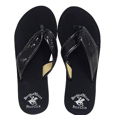 182590802 Beverly Hills Polo Club Fara Women's Sequin Flip Flop Sandal Thong (10 US,  Black