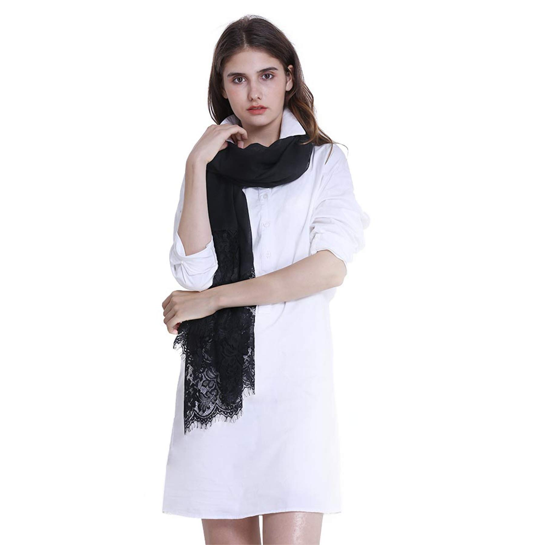 Women Fashion Scarf Wrap Shawl,RiscaWin Autumn Soft Lightweight Lace Scarves Wrap Warm Scarf(Black) by RiscaWin (Image #3)