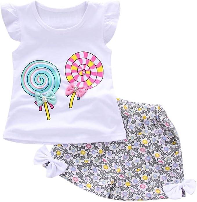 Longra Kleinkind Kinder Baby Outfits Schone Kleider Madchen Kurzarm Lolly T Shirt Tops Kurze Hosen Shorts Sommermode Kinder Kleidung Set Amazon De Bekleidung