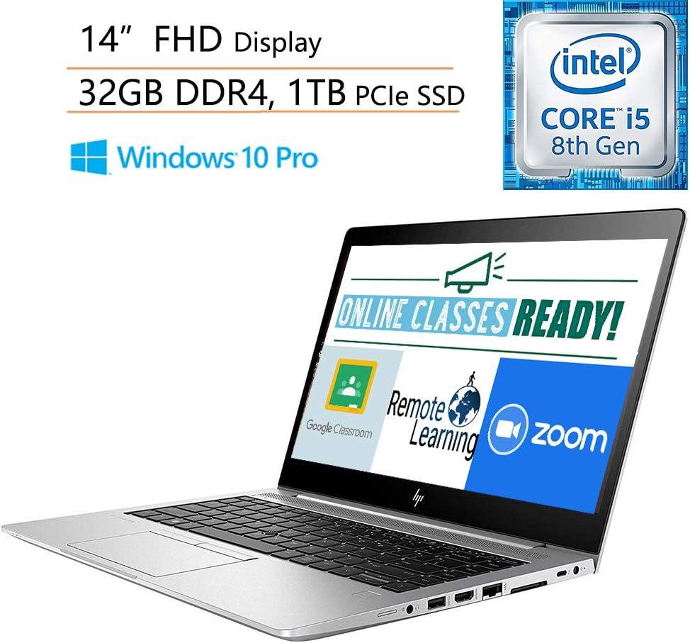 """HP EliteBook 840 G5 Business Laptop Computer/ Intel Quad-Core i5-8250U (Beat i7-7500U)/ 32GB DDR4/ 1TB PCIE SSD/ Online Class Ready/ 14"""" FHD/ Windows 10 Professional/ iPuzzle 500GB External Drive"""