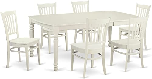 DOGR7-LWH-W 7 PcTable and Chairs set for 6-Table and 6 dinette Chairs