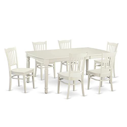 DOGR7-LWH-W 7 PcTable and Chairs'set