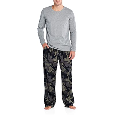Ashford & Brooks Men's Jersey Knit Long-Sleeve Top and Mink Fleece Bottom Pajama Set: Clothing