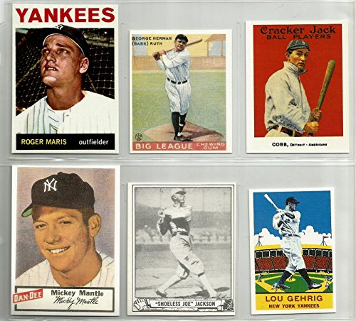 reprint-lot-with-roger-maris-1964-babe-ruth-1933-goudey-mickey-mantle-1954-dan-dee-ty-cobb-1915-crac
