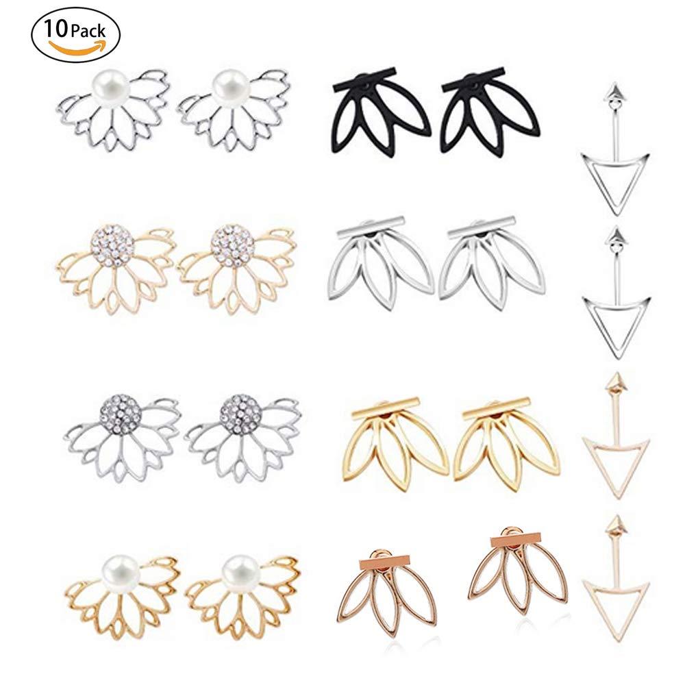 10 pairs ear jacket Chic crystal stud lotus flower earrings women girls simple chic jewelry (10 pairs)