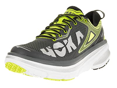 1012619-GAC Hoka One One Men's Bondi 4 Athletic Shoes - Grey/Acid - 10.5 - M