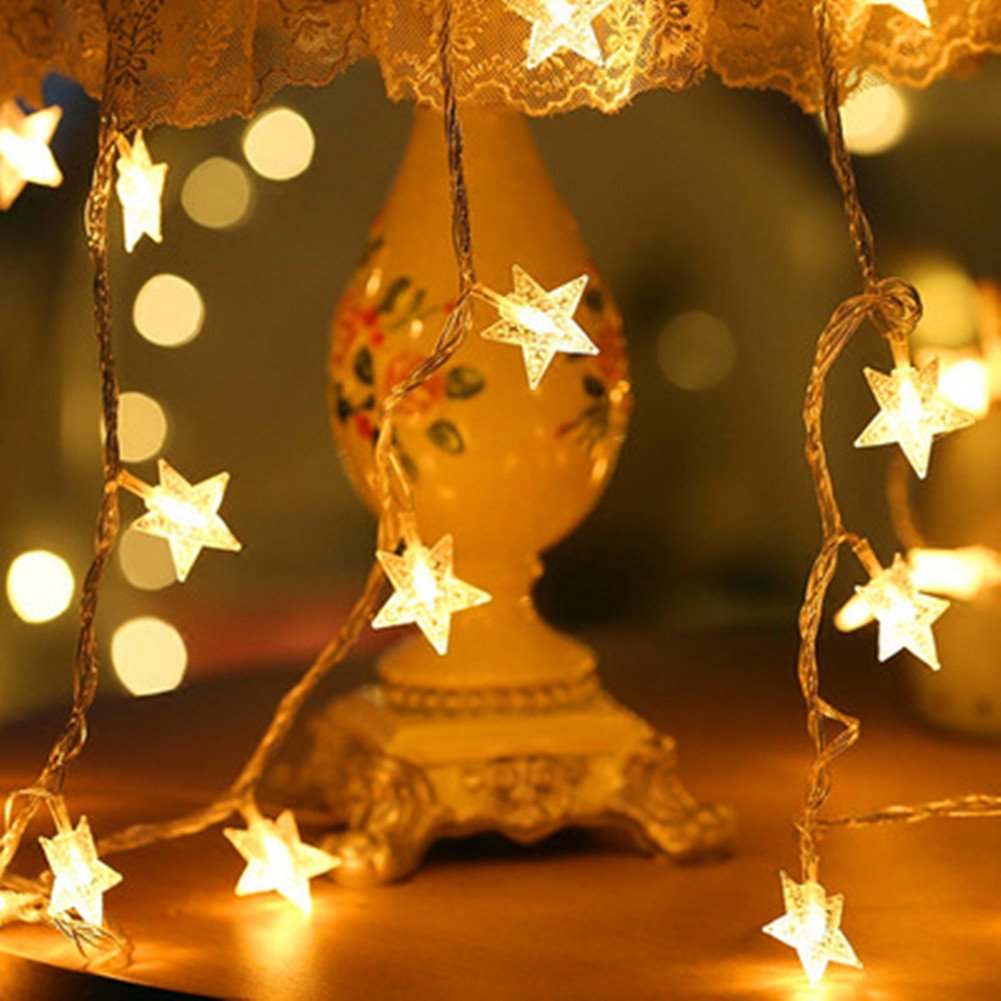 BJYHIYH Battery Powered String Lights 16ft 40 LED Star Fairy Lights Bedroom Christmas Wedding Party Decoration(Warm White) by BJYHIYH (Image #2)
