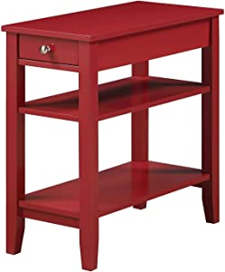 Convenience Concepts American Heritage Three Tier End Table With Drawer, Cranberry Red