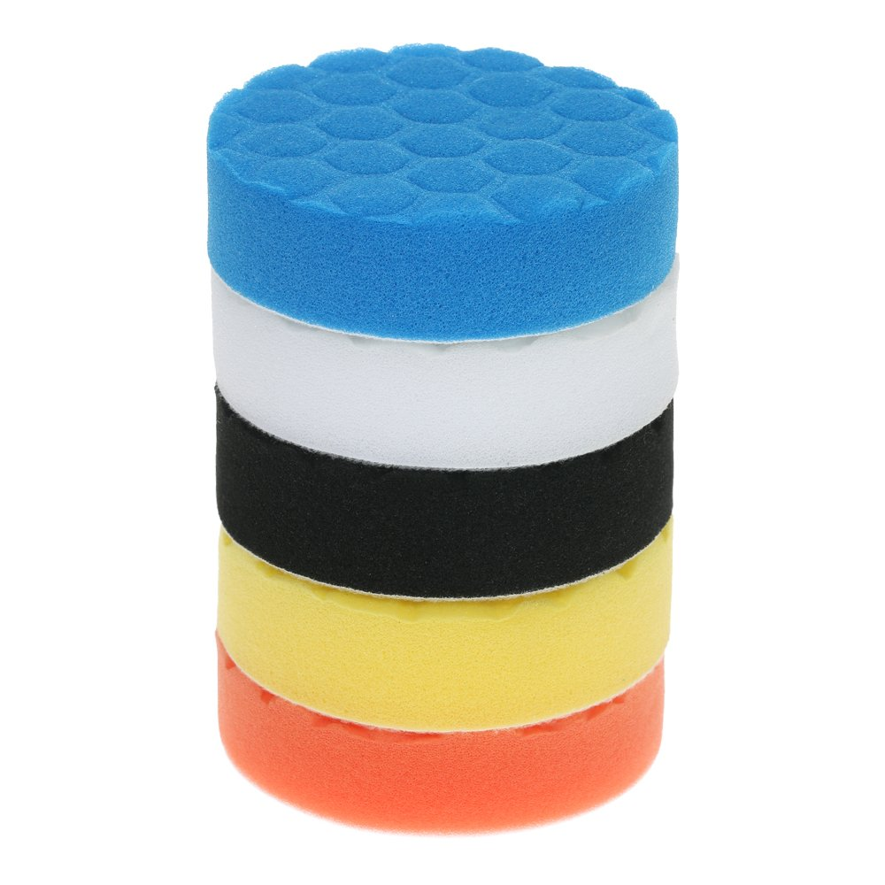 KKmoon 5PCS Brand New 3' 80mm/4' 100mm/5' 125mm/6' 150mm/7' 180mm Car Polishing Pads Waxing Buffing Pad Sponge Kit Set for Car Polisher Buffer Waxer Sander Polishing Waxing Sealing Glaze