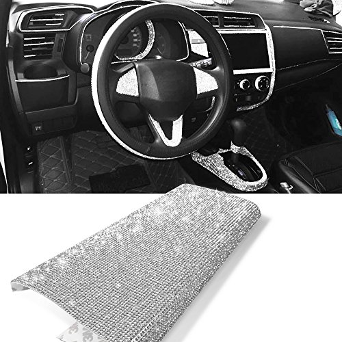 YGMONER 9000pcs Bling Crystal Rhinestone 9.4 x 7.9'' DIY Car Decoration Sticker (Sliver)