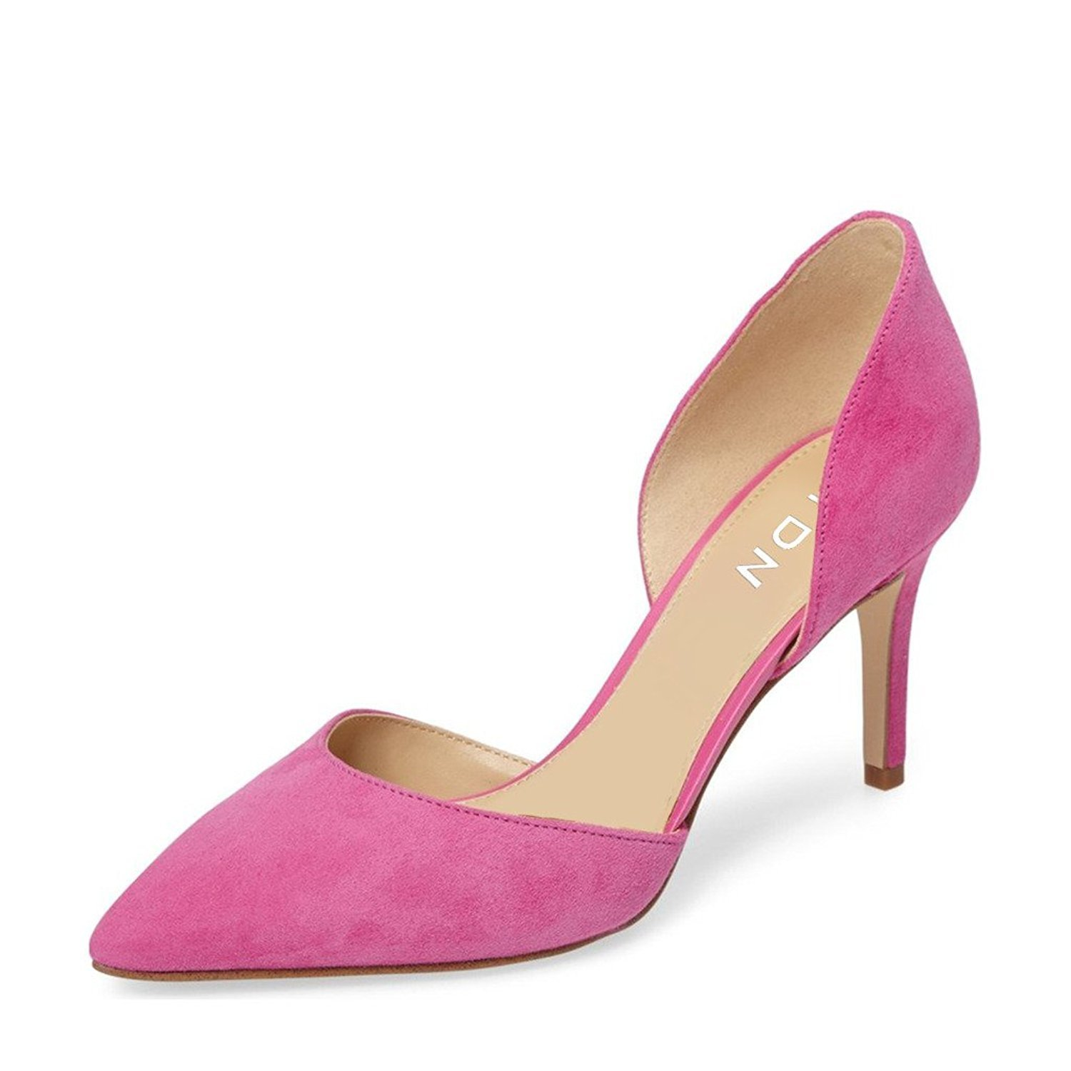 YDN Women Classic Low Heels D'Orsay Pumps Suede Pointed Toe Slip On Dressy Stilettos Shoes B01N6GDO73 6 B(M) US|Pink