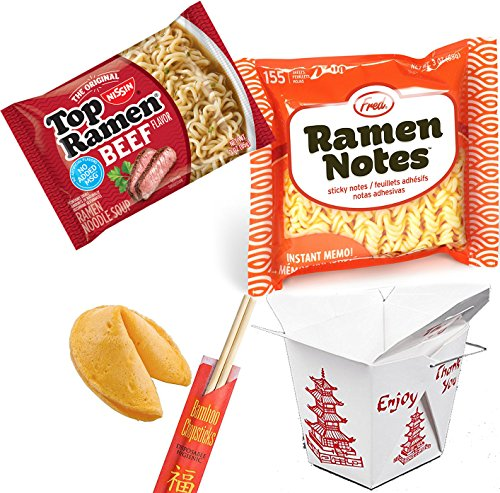 I Love Ramen / Ramen Note Fred Sticky pad / Top Ramen Beef Noodles / Fortune Cookie / Chop Sticks & Snack Container