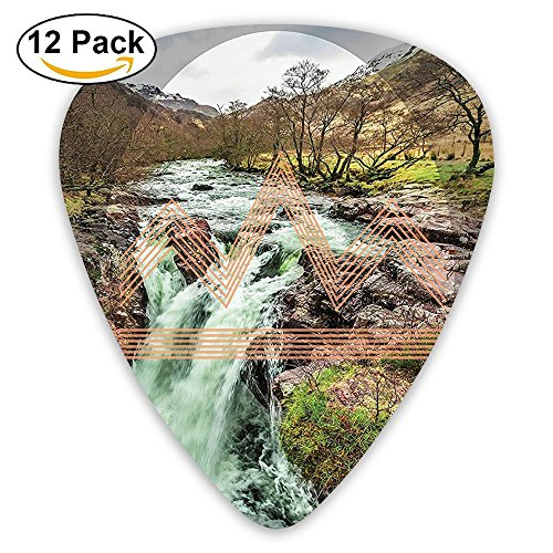 Newfood Ss Enchanted Forest Mountains In Spring Season Waterfall Hipster Guitar Picks 12/Pack Set ()