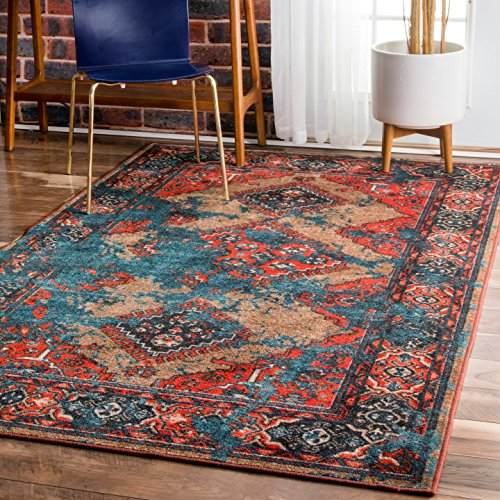 nuLOOM MCGZ12A Multi Distressed Tribal Lavonna Area Rug, 5' x 8', Multicolor by nuLOOM