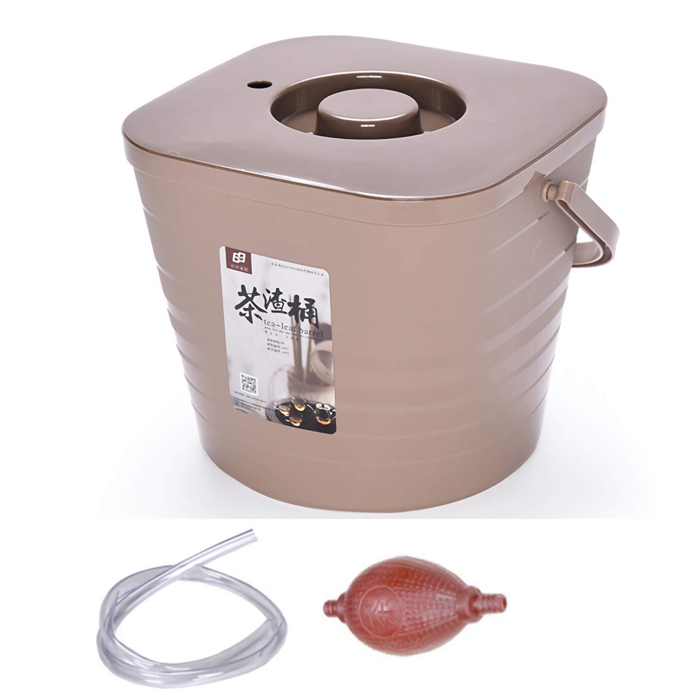 Tea Residue Plastic Tea Bucket with Lid Kung Fu Tea Set Accessories Household Drainage Filter Barrel Waste Water Bucket Khaki tea slag bucket