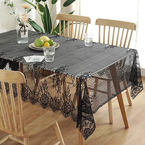 (LeLehome Elome Vintage Antique Black Lace Tablecloth, 55 X 87 Inch, Rectangular Kitchen Dinner Restaurant Party Wedding Halloween Home Decor Fabric Overlays Table)