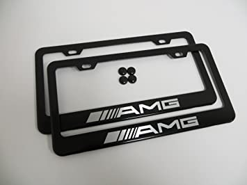 Mercedes-Benz Black License Plate Frame with Caps
