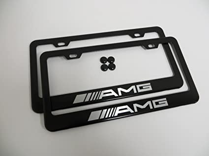 Lovely Set Of 2 AMG Black Metal License Plate Frame Mercedes Benz With Screw Cap  Covers