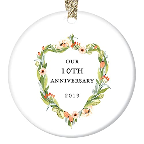 Christmas Gifts For Husband 2019.10th Wedding Anniversary Ornament 2019 Christmas Couple Married 10 Ten Years Together Tenth Holiday Marriage Husband Wife Ceramic Keepsake Present 3