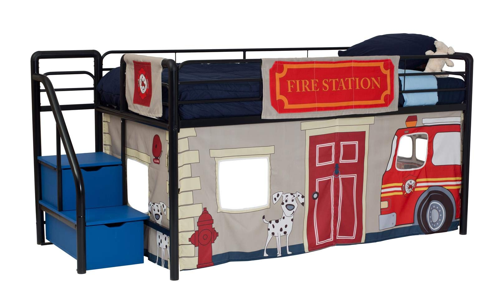 DHP Junior Black Metal Loft Bed with Blue Storage Steps and Fire Department Curtain Set, Kids Bed Set, Twin by DHP