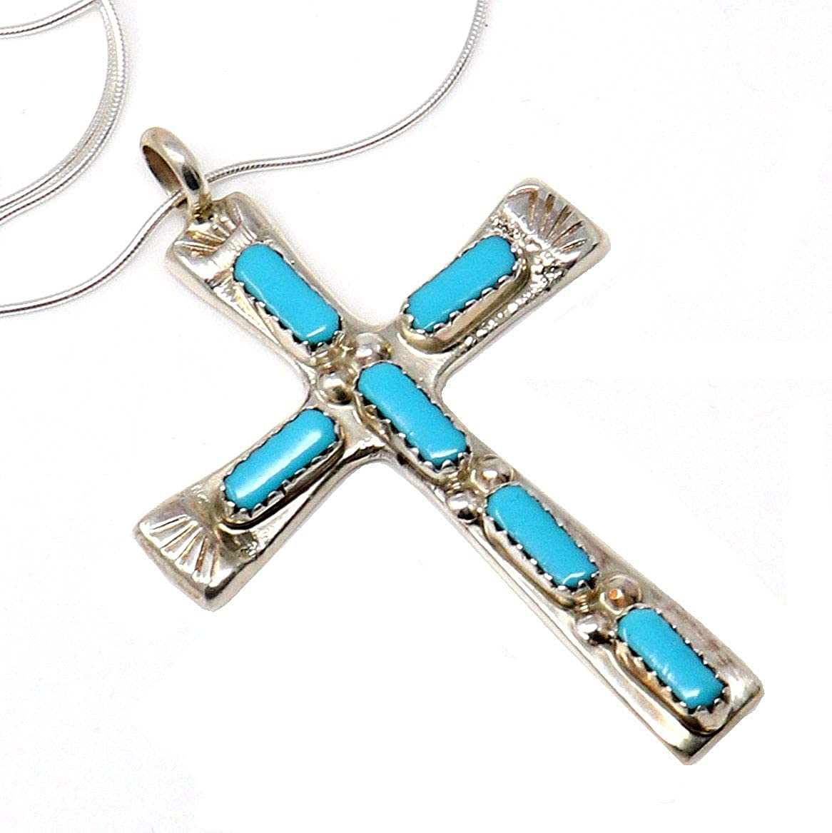 Reconstituted Turquoise Cross Pendant Sterling Silver Pendant Only