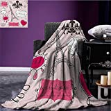 Teen Room Patterned blanket Doodle Frames in French Style Rococo Baroque Lantern Mademoiselle Print beach blanket Hot Pink and Black size:51''x31.5''