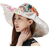 Women's Foldable Floppy Reversible Travel Beach Sun Visor Hat Wide Brim UPF 50+